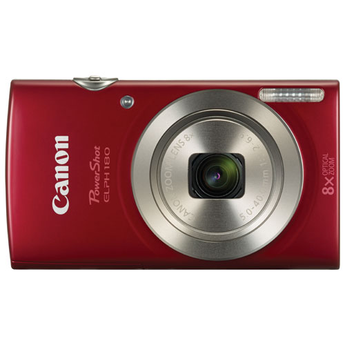 Canon PowerShot ELPH 180 20.0MP 8x Optical Zoom Digital Camera - Red