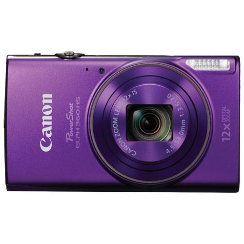 PowerShot ELPH 360 HS WiFi 20.2MP 12x Optical Zoom Digital Camera - Purple