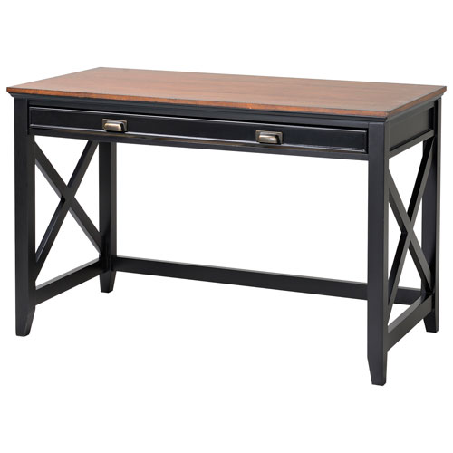 modern writing desk with drawer natural wood veneer