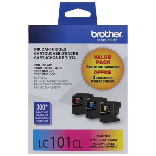 Paquet de 3 cartouches d'encre CMJ Innobella de Brother (LC1013PKS)