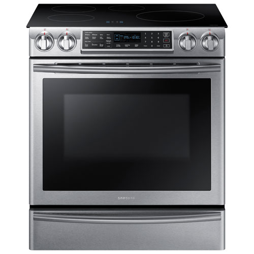 "Samsung 30"" 5.8 Cu. Ft. Slide-In Smooth Top Induction Range - Stainless Steel"