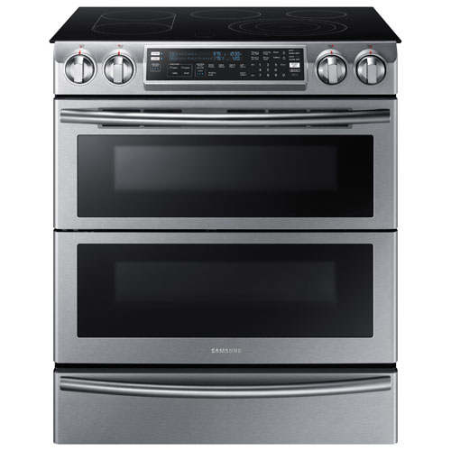 "Samsung 30"" 5.8 Cu. Ft. Slide-In Smooth Top Electric Range - Stainless Steel"