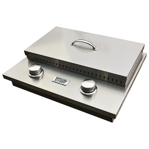 Double brûleur latéral intégré en acier inoxydable Premium avec couvercle de Broil Chef