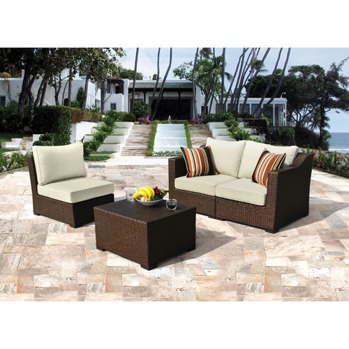 Borealis Settina 4 Piece Outdoor Sectional Lounge Set   Brown/Beige