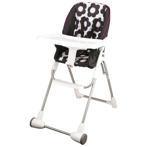 Evenflo Symmetry Marianna Flat Fold High Chair With Tray   Black/White/Pink    Online Only