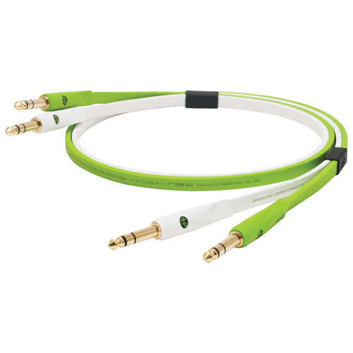 """Neo Cables d+ Class B 1m (3.2 ft.) 1/4"""" TRS Cable (TRSB1) - Green/White"""
