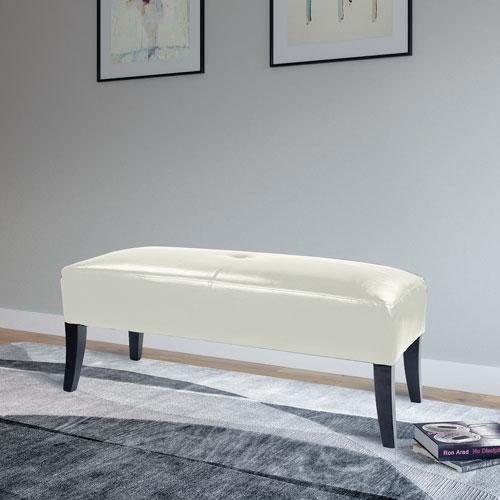 pouf contemporain en cuir reconstitu antonio blanc bancs best buy canada. Black Bedroom Furniture Sets. Home Design Ideas