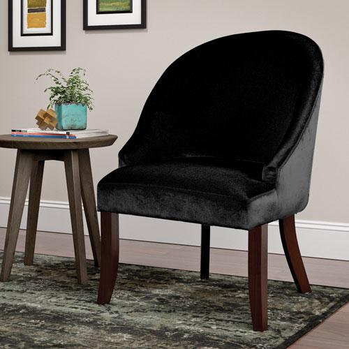 antonio contemporary velvet accent chair - black : accent chairs