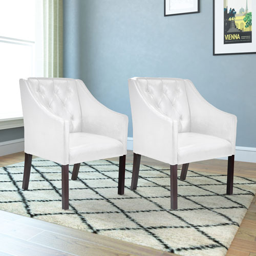 Antonio Contemporary Bonded Leather Tufted Accent Chair Set Of 2