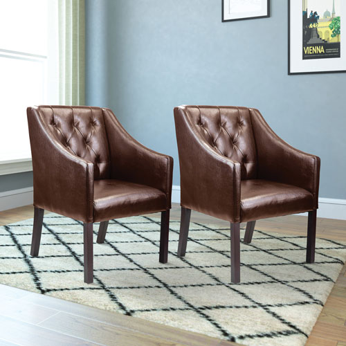 Antonio Bonded Leather Tufted Accent Chair Set Of 2 Dark Brown