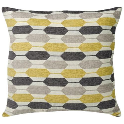 Urban Loft Modern Hexagon Feather Filled Throw Pillow - Yellow/Grey