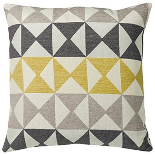 Urban Loft Modern Diamond Feather Filled Throw Pillow - Yellow/Grey