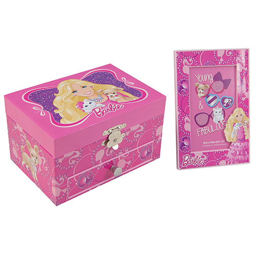 Barbie Music Jewelry Box with Photo Frame Pink Jewelry Boxes