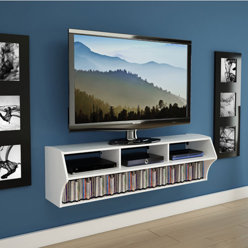 Prepac altus plus 60 floating tv stand white tv - Support tv mural ikea ...