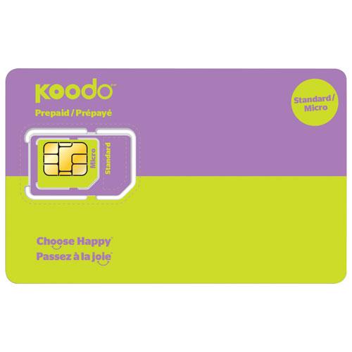 Carte micro SIM standard prépayée offerte par Koodo