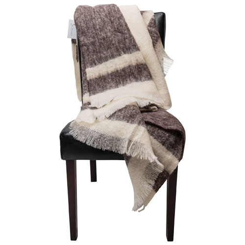 The St. Pierre Home Koffie Mohair Throw Blanket - Coffee