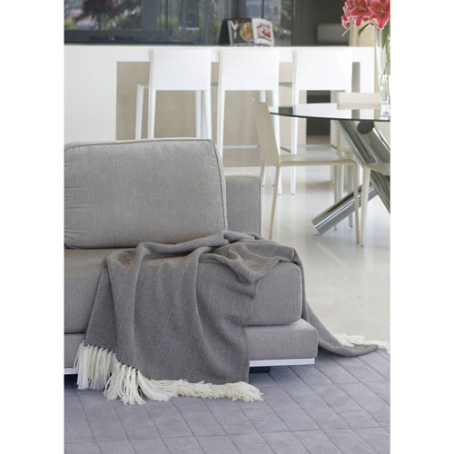 The St. Pierre Home Reen Merino Wool/Mohair Throw Blanket - Light Grey