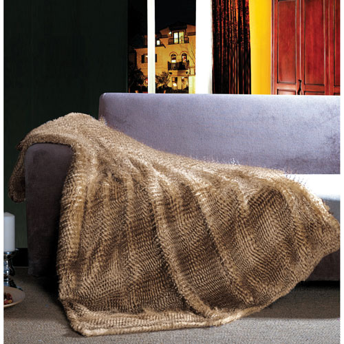 The St. Pierre Home Exotic Faux Fur Throw Blanket - Brown