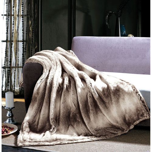 The St. Pierre Home Snow Linx Faux Fur Throw Blanket - White