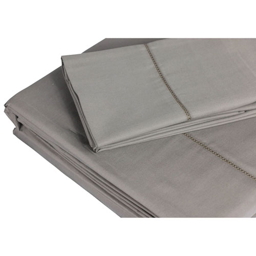 The St. Pierre Home 4-Piece 350 Thread Count Cotton Bed Sheet Set - Queen - Grey