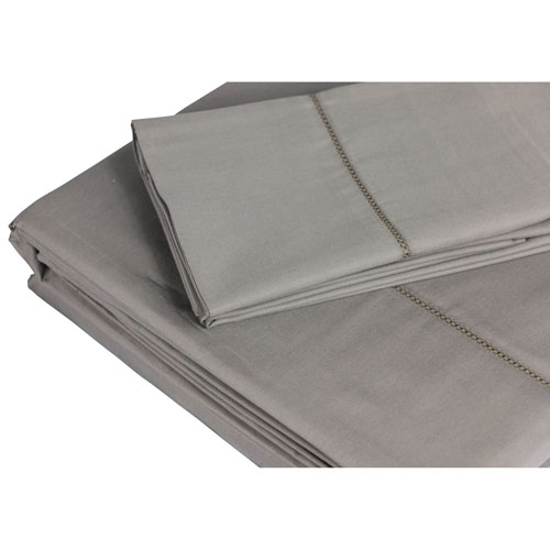 The St. Pierre Home 4-Piece 350 Thread Count Cotton Bed Sheet Set - King - Grey