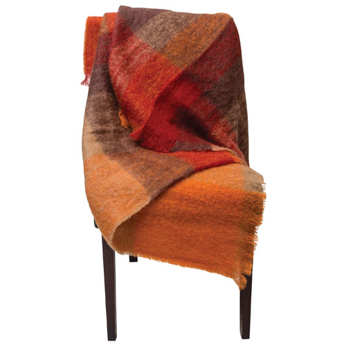 The St. Pierre Home Sunset Mohair Throw Blanket - Orange