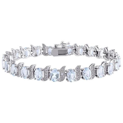 Classic Sterling Silver with Blue Aquamarine & 0.03ctw White Diamond Bracelet