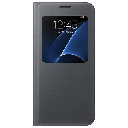 Samsung Galaxy S7 S-View Flip Cover Case - Black