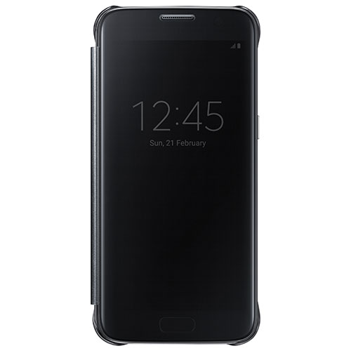 Samsung Galaxy S7 Clear View Cover Fitted Hard Shell Case - Black