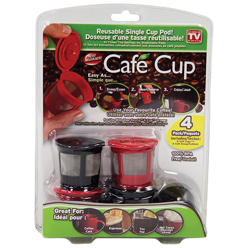 As Seen On TV Cafe Cup Reusable Single Cup Pod - 4 Pack