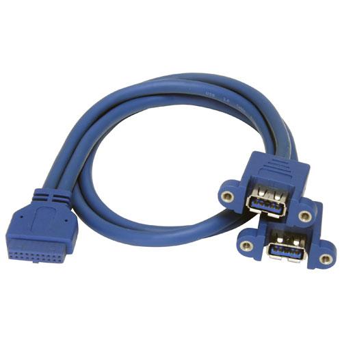 Câble USB 3.0 interne de 0,5 m (1,6 pi) de StarTech (USB3SPNLAFHD) - Bleu