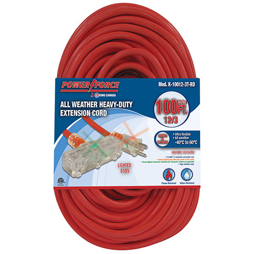 King Canada Power Force 30.5m (100 ft.) Heavy-Duty Extension Cord - Triple Tap