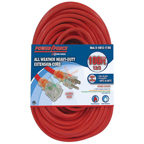 King Canada Power Force 30.5m (100 ft.) Heavy-Duty Extension Cord - Single Tap