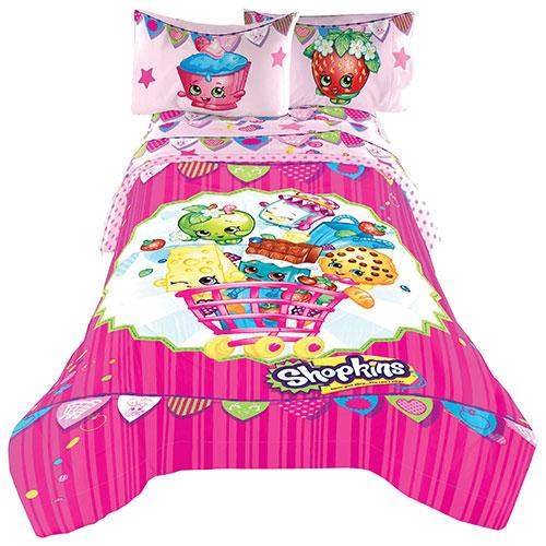 couvre lit oui oui Couvre lit en microfibre Shopkins   Lit double   Rose  couvre lit oui oui