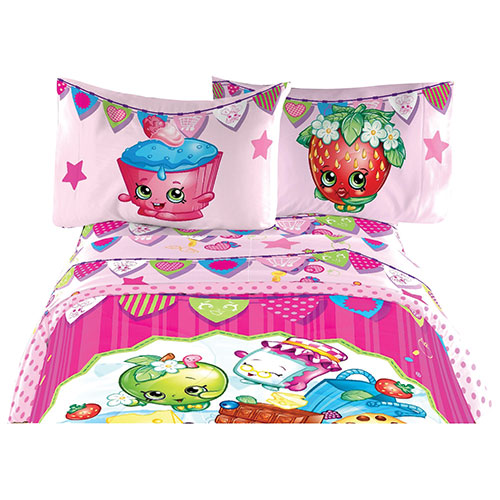 Ensemble de draps Shopkins - Lit simple - Rose