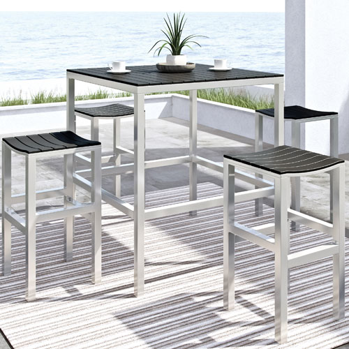 Nantucket Contemporary 5 Piece Bar Height Bistro Set   Silver/Black