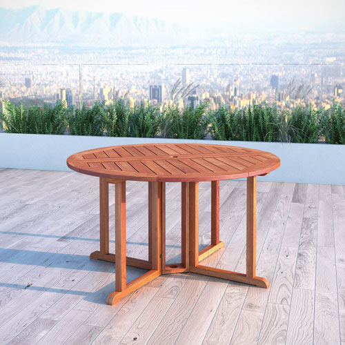 Miramar Contemporary 4 Seating Round Outdoor Dining Table Cinnamon