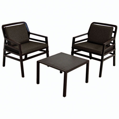 Nardi aria 3 piece patio conversation set dark brown for Best buy patio furniture