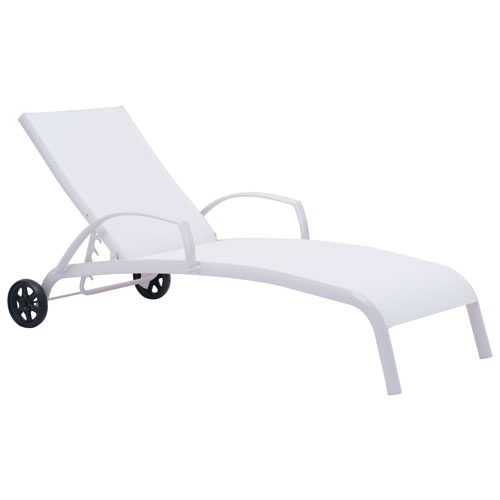 Casam Modern Patio Chaise Lounge Chair White Outdoor Chairs