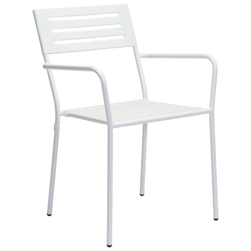 Wald Modern Metal Patio Arm Chair - Set of 2 - White