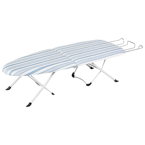 Honey-Can-Do Foldable Tabletop Ironing Board with Cover & Pad - White/Blue Stripe
