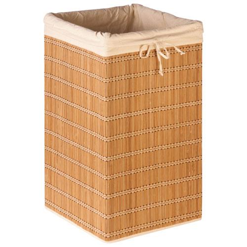 Panier à linge carré en osier de bambou avec doublure de Honey-Can-Do - Naturel - Beige