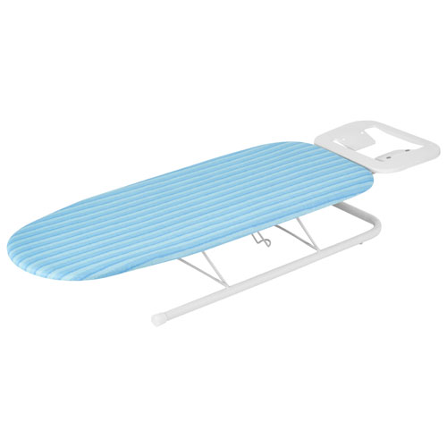 Planche à repasser de table de luxe avec support pour fer de Honey-Can-Do - Blanc - Rayure bleue