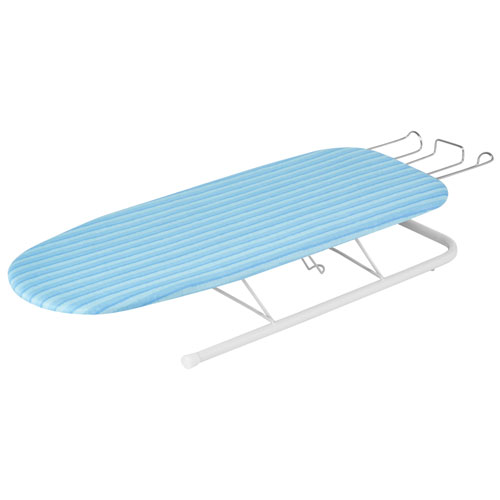 Honey-Can-Do Deluxe Tabletop Ironing Board with Retractable Iron Rest - Aqua Blue/White