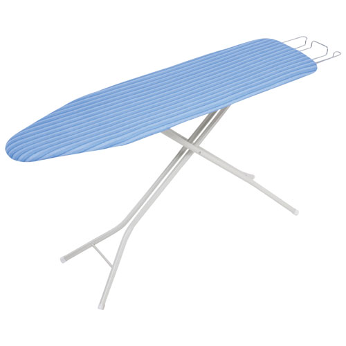 Honey-Can-Do Quad-Leg Ironing Board with Retractable Iron Rest - Ivory/Blue Stripe