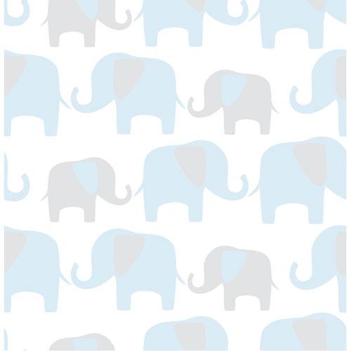 NuWallpaper Elephant Parade Peel and Stick Wallpaper - Blue
