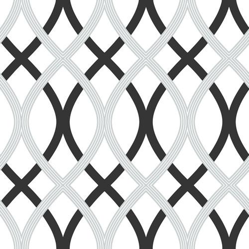 NuWallpaper Lattice Peel and Stick Wallpapear - Black/Silver