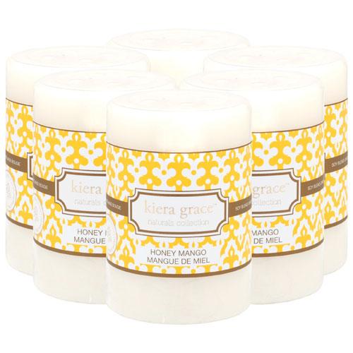 "Kiera Grace Naturals 4"" Honey Mango Pillar Candle - 6 Pack"