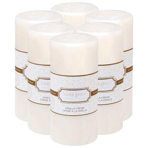 Chandelle haute de 6 po au parfum de crème à la vanille de Kiera Grace Naturals - Paquet de 6