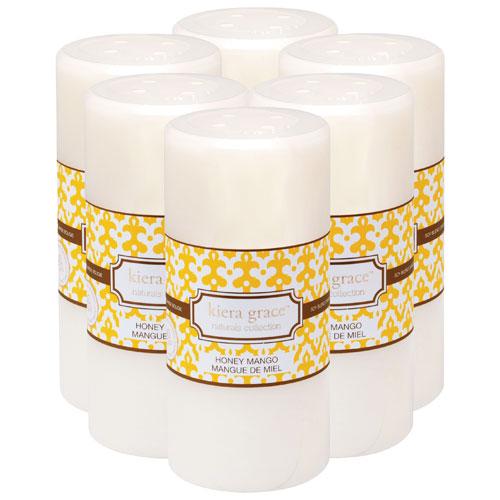 "Kiera Grace Naturals 6"" Honey Mango Pillar Candle - 6 Pack"